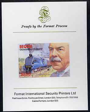 St Vincent - Bequia 1986 Locomotives & Engineers (Leaders of the World) $2.50 (Sir Nigel Gresley & Mallard) imperf proof mounted on Format International proof card