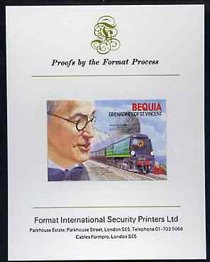 St Vincent - Bequia 1986 Locomotives & Engineers (Leaders of the World) $4.00 (Oliver Bullied & Battle of Britain Class) imperf proof mounted on Format International proof card