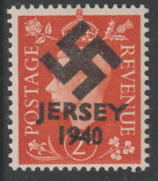 Jersey 1940 Swastika opt on Great Britain KG6 2d orange produced during the German Occupation but unissued due to local feelings. This is a copy of the overprint on a gen...