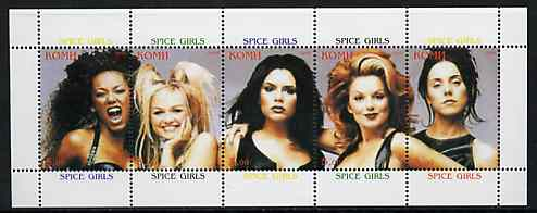 Komi Republic 1999 Spice Girls perf sheetlet containing complete set of 5 values unmounted mint