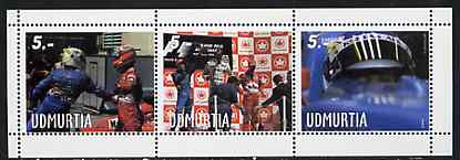 Udmurtia Republic 1999 Formula 1 perf sheetlet containing set of 3 values unmounted mint