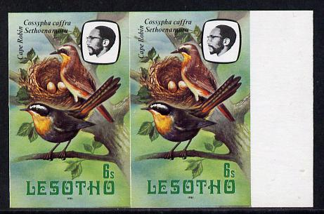 Lesotho 1981 Cape Robin Chat 6s def in unmounted mint imperf pair (as SG 441)*