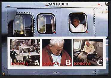 Kosova 2000 Pope John Paul II #2 imperf sheetlet containing set of 3 values unmounted mint