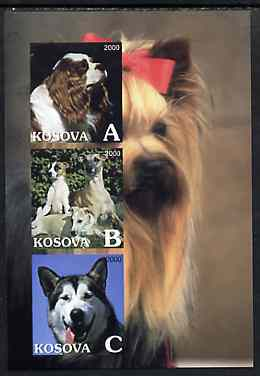 Kosova 2000 Dogs imperf sheetlet containing set of 3 values unmounted mint
