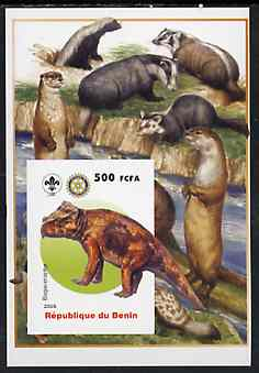Benin 2005 Dinosaurs #02 - Bagaceraptor imperf m/sheet with Scout & Rotary Logos, background shows Badgers, Otters & Beavers unmounted mint