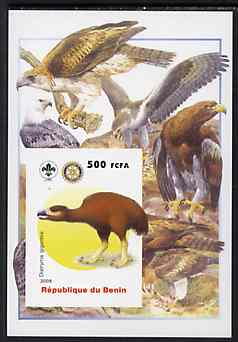 Benin 2005 Dinosaurs #03 - Diatryma gigantea imperf m/sheet with Scout & Rotary Logos, background shows various Birds of Prey unmounted mint