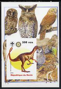 Benin 2005 Dinosaurs #04 - Sinosauropteryx imperf m/sheet with Scout & Rotary Logos, background shows various Owls unmounted mint