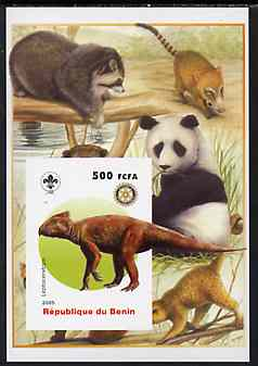 Benin 2005 Dinosaurs #05 - Leptoceraptops imperf m/sheet with Scout & Rotary Logos, background shows Panda etc unmounted mint