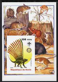 Benin 2005 Dinosaurs #07 - Longisquama imperf m/sheet with Scout & Rotary Logos, background shows various Rodents unmounted mint