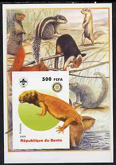 Benin 2005 Dinosaurs #08 - Robertia imperf m/sheet with Scout & Rotary Logos, background shows Squirrels, etc unmounted mint