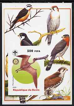 Benin 2005 Dinosaurs #10 - Pterodaustro imperf m/sheet with Scout & Rotary Logos, background shows various Birds of Prey unmounted mint