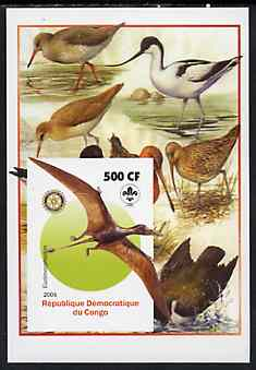 Congo 2005 Dinosaurs #04 - Eudimorphodon imperf m/sheet with Scout & Rotary Logos, background shows various Birds unmounted mint