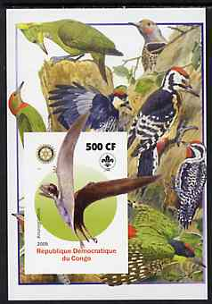 Congo 2005 Dinosaurs #05 - Anurognathus imperf m/sheet with Scout & Rotary Logos, background shows various Woodpeckers unmounted mint