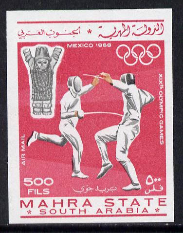 Aden - Mahra 1967 Fencing 500f from Olympics imperf set unmounted mint (Mi 29B)