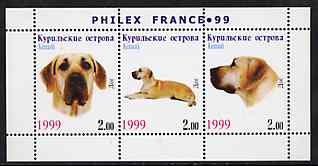 Kuril Islands 1999 Philex France Stamp Exhibition - Dogs #01 (Great Dane) perf sheetlet containing 3 values unmounted mint