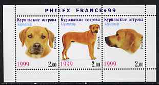 Kuril Islands 1999 Philex France Stamp Exhibition - Dogs #02 (Ridgeback) perf sheetlet containing 3 values unmounted mint