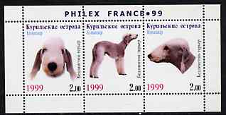 Kuril Islands 1999 Philex France Stamp Exhibition - Dogs #03 (Bedlington Terrier) perf sheetlet containing 3 values unmounted mint