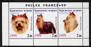 Kuril Islands 1999 Philex France Stamp Exhibition - Dogs #04 (Yorkshire Terrier) perf sheetlet containing 3 values unmounted mint