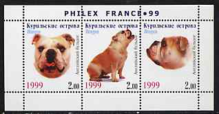 Kuril Islands 1999 Philex France Stamp Exhibition - Dogs #10 (Bulldog) perf sheetlet containing 3 values unmounted mint
