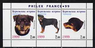 Kuril Islands 1999 Philex France Stamp Exhibition - Dogs #14 (Rottweiler) perf sheetlet containing 3 values unmounted mint