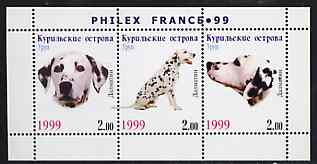Kuril Islands 1999 Philex France Stamp Exhibition - Dogs #18 (Dalmation) perf sheetlet containing 3 values unmounted mint