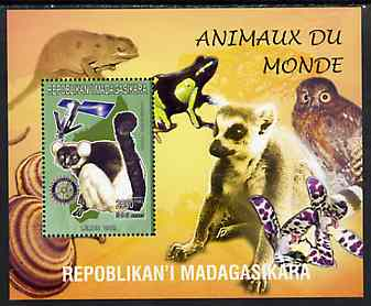 Madagascar 1999 Animals of the World #12 perf m/sheet showing Lemur #6 with Rotary Logo, background shows Owl, Fungi, Frog & Orchid, unmounted mint