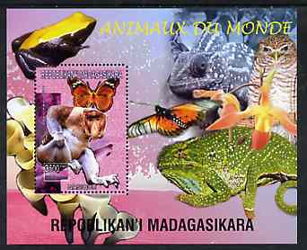 Madagascar 1999 Animals of the World #03 perf m/sheet showing Baboon, background shows Frog, Owl, Butterfly, Chameleon & Orchid, unmounted mint