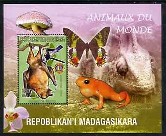 Madagascar 1999 Animals of the World #17 perf m/sheet showing Rousette Bat with Lions Int Logo, background shows Frog, Butterfly, Reptile, Fungi & Orchid, unmounted mint