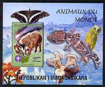 Madagascar 1999 Animals of the World #15 perf m/sheet showing Bush Pig with Scout Logo, background shows Owl, Butterfly, Reptile, Fungi & Orchid, unmounted mint
