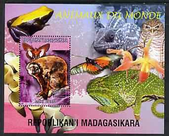 Madagascar 1999 Animals of the World #02 perf m/sheet showing Lemur #1, background shows Frog, Owl, Butterfly, Chameleon & Orchid, unmounted mint
