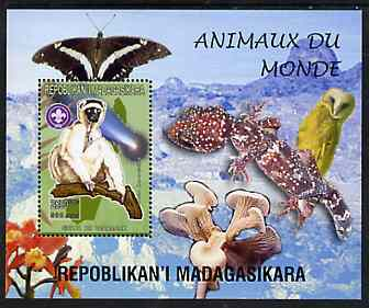 Madagascar 1999 Animals of the World #06 perf m/sheet showing Sifaka with Scout Logo, background shows Owl, Butterfly, Reptile, Fungi & Orchid, unmounted mint