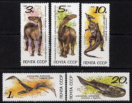 Russia 1990 Prehistoric Animals set of 5 unmounted mint, SG 6173-77, Mi 6116-20*
