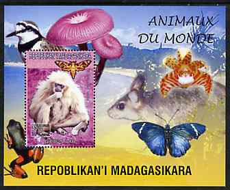Madagascar 1999 Animals of the World #04 perf m/sheet showing Gibbon Monkey, background shows Frog, Bird, Butterfly, Fungi & Orchid, unmounted mint