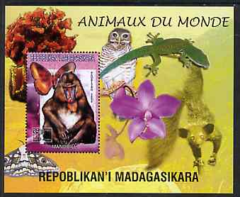 Madagascar 1999 Animals of the World #13 perf m/sheet showing Mandril Monkey, background shows Owl, Butterfly, Lizard & Orchid, unmounted mint