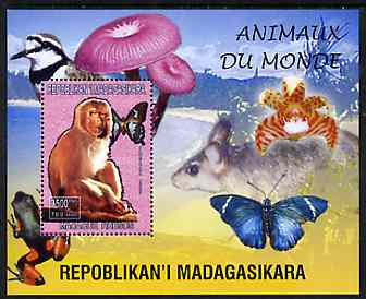 Madagascar 1999 Animals of the World #05 perf m/sheet showing Rhesus Macaque Monkey, background shows Frog, Bird, Butterfly, Fungi & Orchid, unmounted mint