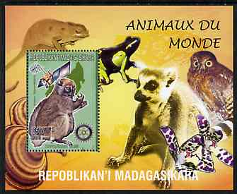 Madagascar 1999 Animals of the World #11 perf m/sheet showing Lemur #5 with Rotary Logo, background shows Owl, Fungi, Frog & Orchid, unmounted mint