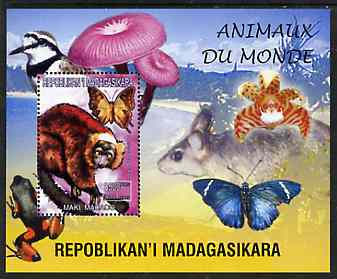 Madagascar 1999 Animals of the World #14 perf m/sheet showing Lemur #7, background shows Frog, Bird, Butterfly, Fungi & Orchid, unmounted mint