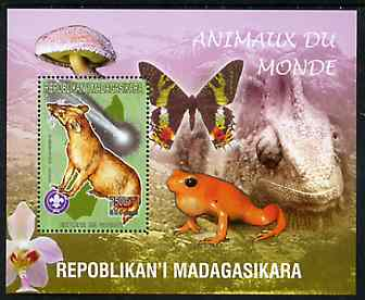 Madagascar 1999 Animals of the World #16 perf m/sheet showing Euplere with Scout Logo, background shows Frog, Butterfly, Reptile, Fungi & Orchid, unmounted mint