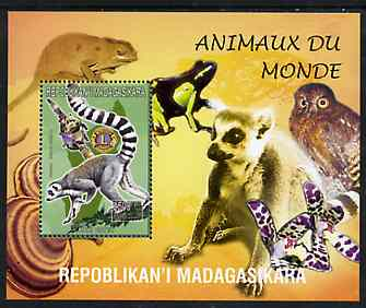 Madagascar 1999 Animals of the World #10 perf m/sheet showing Lemur #4 with Lions Int Logo, background shows Owl, Fungi, Frog & Orchid, unmounted mint