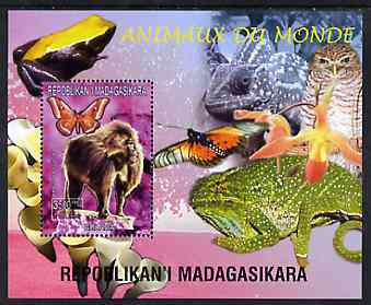 Madagascar 1999 Animals of the World #01 perf m/sheet showing Baboon, background shows Frog, Owl, Butterfly, Chameleon & Orchid, unmounted mint