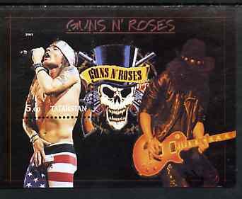 Tatarstan Republic 2001 Guns 'n' Roses perf souvenir sheet unmounted mint