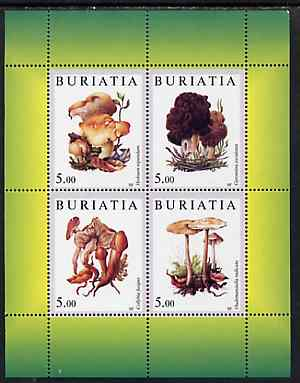 Buriatia Republic 1998 Fungi #12 perf sheetlet containing complete set of 4 values (green background) unmounted mint