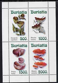 Buriatia Republic 1999 ? Fungi perf sheetlet containing complete set of 4 values (white background) unmounted mint