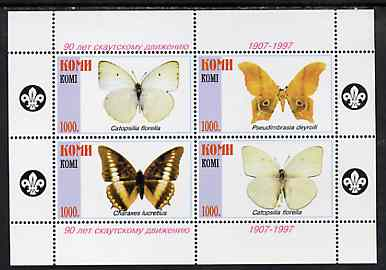 Komi Republic 1997 Butterflies perf sheetlet containing 4 values (Scout logo in margins) unmounted mint