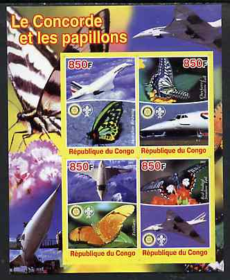 Congo 2005 Concorde & Butterflies imperf sheetlet containing 4 values (each with Scout & Rotary Logos) unmounted mint