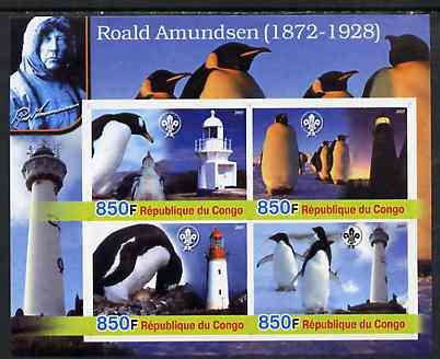 Congo 2005 Roald Amundsen Commemoration (Penguins & Lighthouses) imperf sheetlet containing 4 values (each with Scouts Logo) unmounted mint