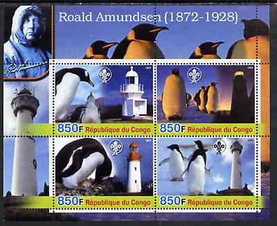 Congo 2005 Roald Amundsen Commemoration (Penguins & Lighthouses) perf sheetlet containing 4 values (each with Scouts Logo) unmounted mint