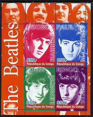 Congo 2005 The Beatles perf sheetlet containing 4 values unmounted mint