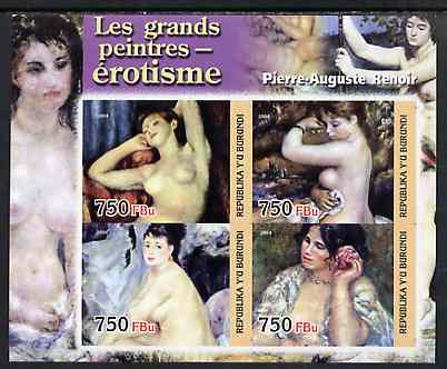 Burundi 2004 Nude paintings - Pierre-Auguste Renoir imperf sheetlet containing set of 4 values unmounted mint