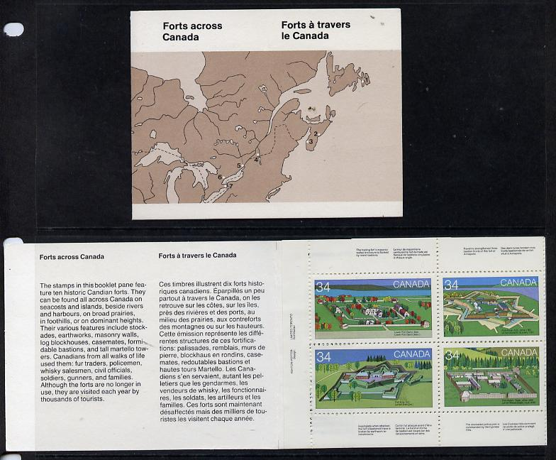 Booklet - Canada 1985 Forts complete set of 10 (SG 1163a) in $3.40 booklet (brown cover showing map) SG SB96